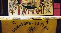 Hand Painted banner by the crew for Due South Tattoo expo